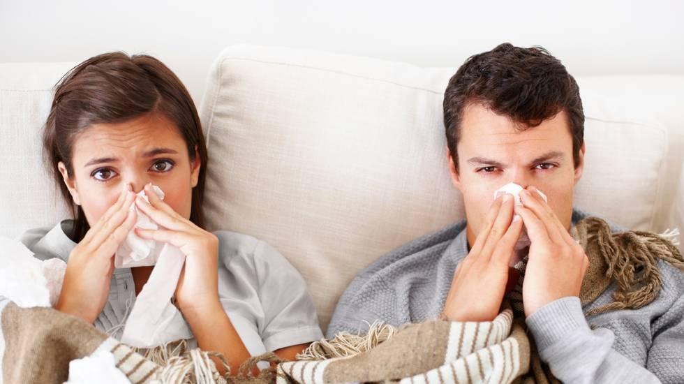 Influenza, Letto, Malattia, Febbre, Coppia, Adulto, Riposarsi, Naso, Soffiare