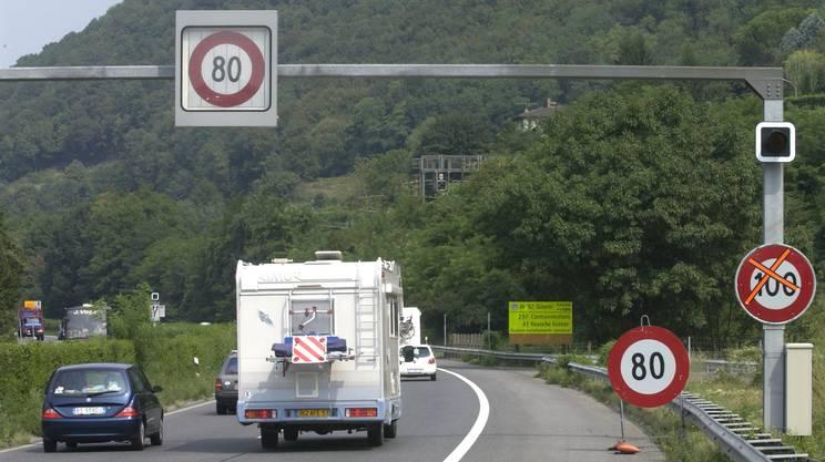 Limite generale modificato a di 80km/h sull'autostrada A2 in territorio ticinese