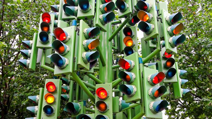 Caos, Ingorgo stradale, Semaforo, Confusione mentale, Stop - Parola inglese