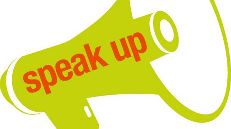 Speak Up!, megafono, logo