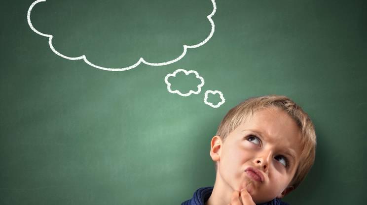 bambino, lavagna, italiano, pensare, imparare, scuola