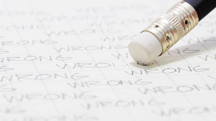 ortografia, errore, matita, gomma, quaderno