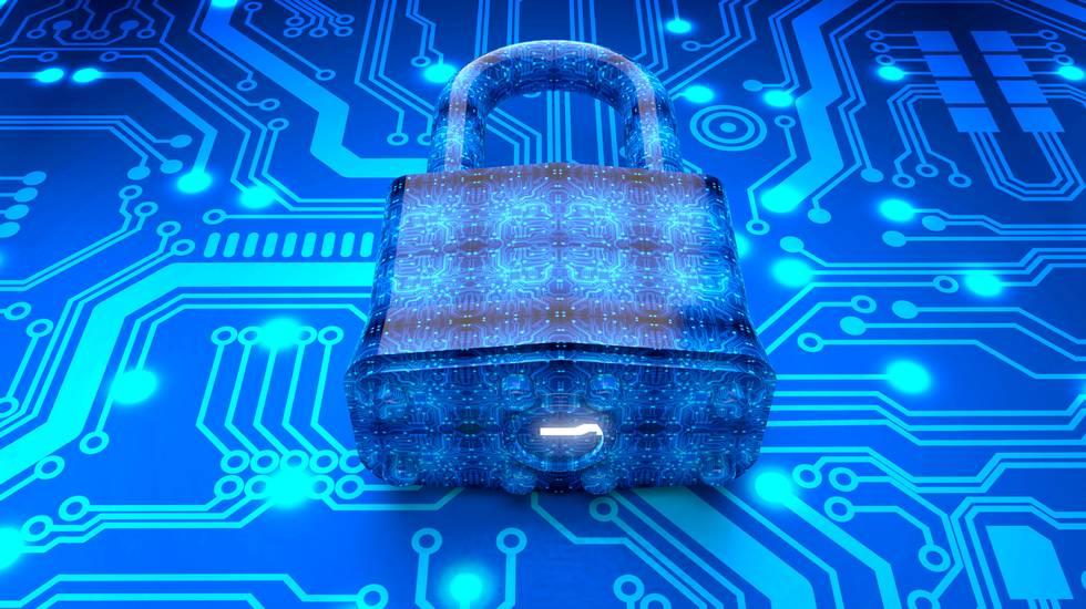 Concetto di sicurezza lucchetto digitale in ambiente di elettronica
