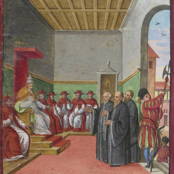 Conclave di Pio V, con una guardia svizzera all'entrata (Codex Maggi, 1578)