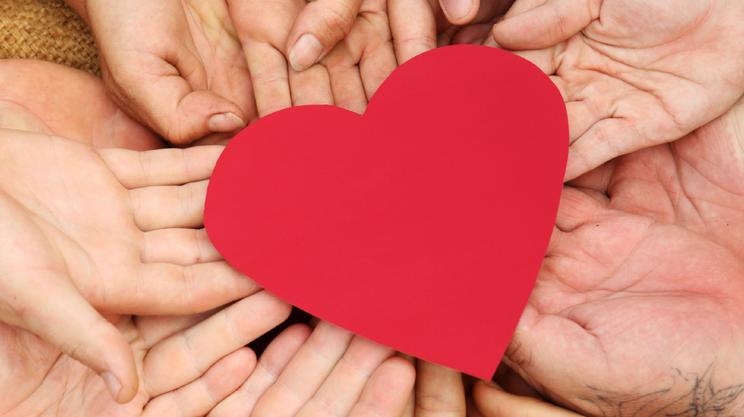 San Valentino, Mani a coppa, Gruppo medio di persone, Lavoro di squadra, Forma, Rosso, Simbolo, Concetti, Insieme, Cooperazione, Assente