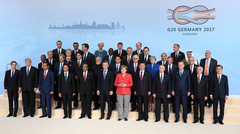 Foto di gruppo dei partecipanti al G20 di Amburgo