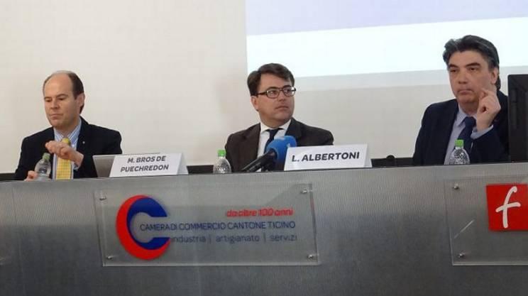 Glauco Martinetti, Presidente della Camera di Commercio, Marc Bros de Puerchredon, direttore e Presidente di BAK Economics AG e Luca Albertoni, direttore della Camera di commercio