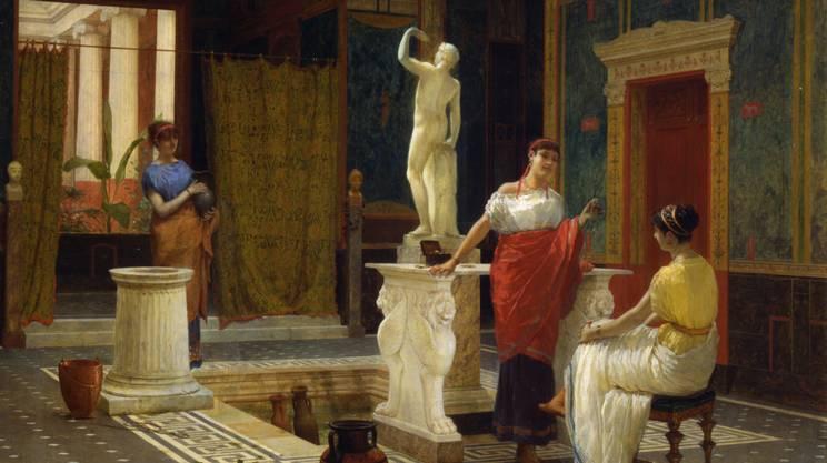 Interno pompeiano di Luigi Bazzani, Roma, 1882 , Olio su pannello in legno