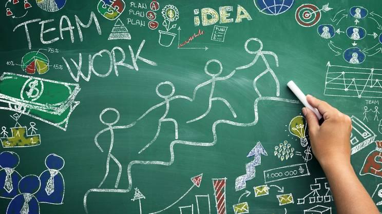 Lavoro di squadra, Gruppo di persone, Guadagnare soldi, Schizzo, Idea
