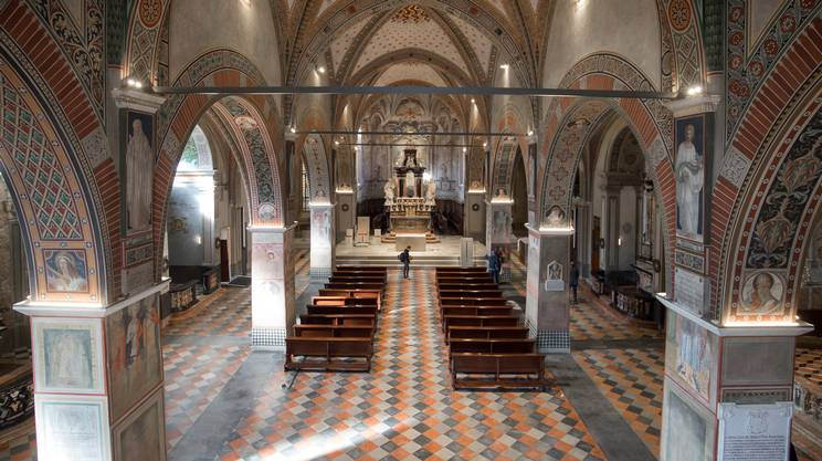 Lugano: presentazione lavori di restauro Cattedrale di San Lorenzo. Veduta interna della Cattedrale di San Lorenzo