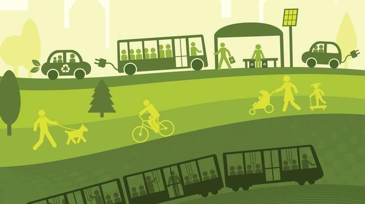 Mobilità sostenibile, autobus, Bicicletta, piedi, tram, eco