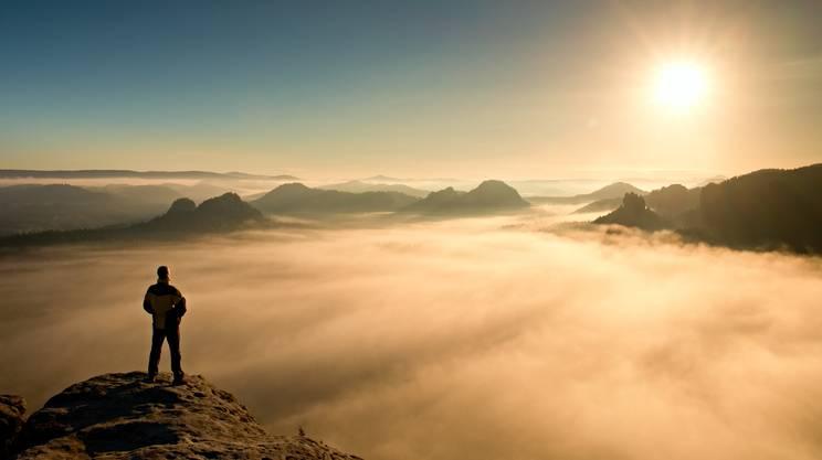 Montagna, vetta, cima, ammirare, Tramonto, Nebbia, Autunno, Svizzera, Montagna