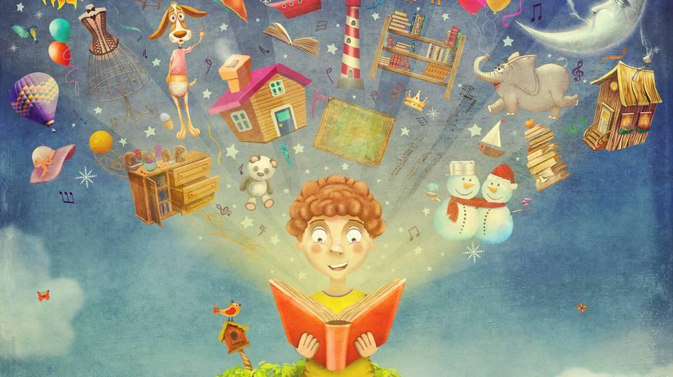 Piccolo bambino seduto su un albero e lettura libro, Libro, Bambino, Leggere, Fumetto, Bambini maschi