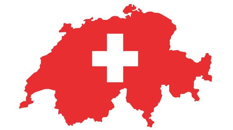Svizzera, mappa, bandiera svizzera
