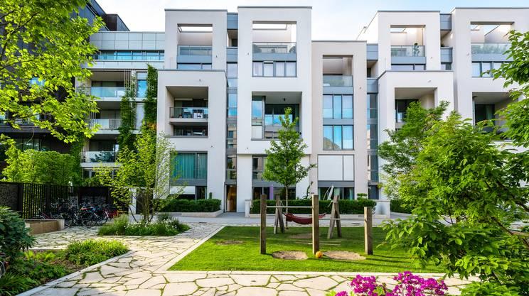 complesso abitativo, parco giochi, cohousing