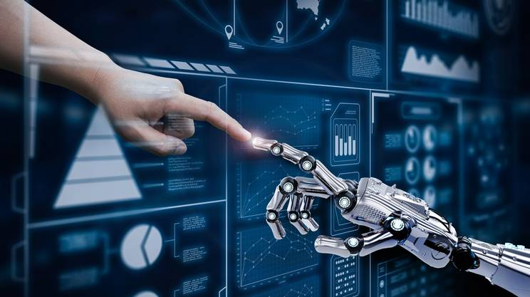 robot, uomo, tecnologia, adattamento