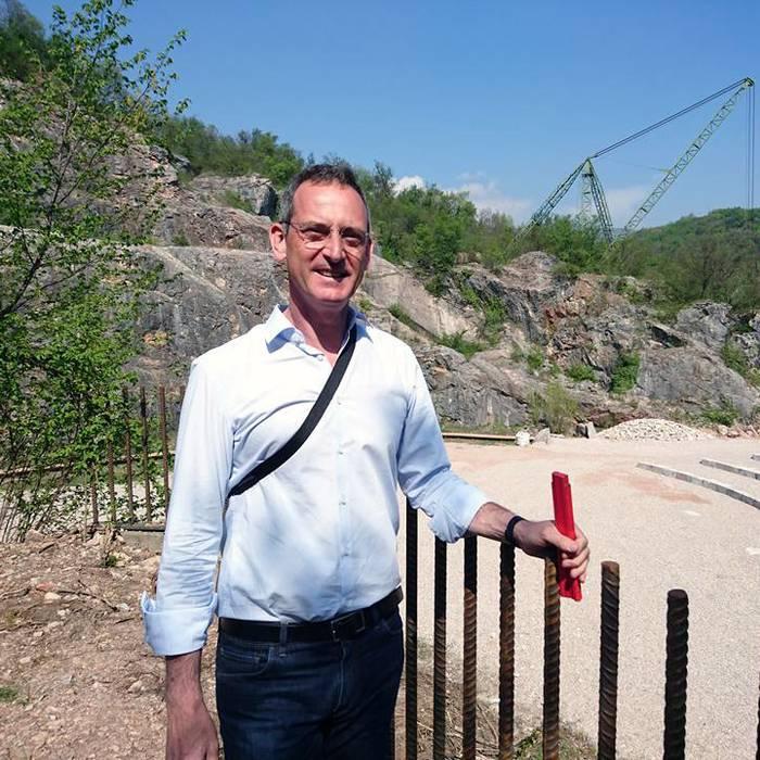 Architetto Enrico Sassi, sul cantiere dell'anfiteatro delle cave di Arzo, Squadra esterna 10.04.17 - 1