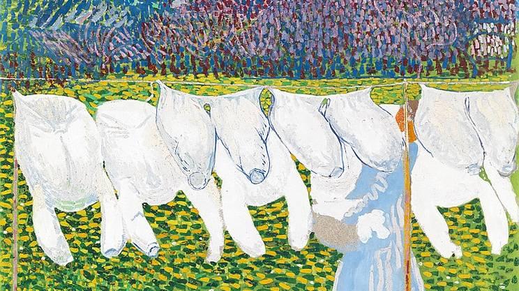 Il Bucato (Die Wäsche), Cuno Amiet (1868-1961) Collezione privata 1904, olio su eternit, 92.5 x 100 cm