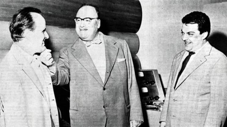 Nino Rota, Riccardo Bacchelli e Bruno Maderna nel 1963
