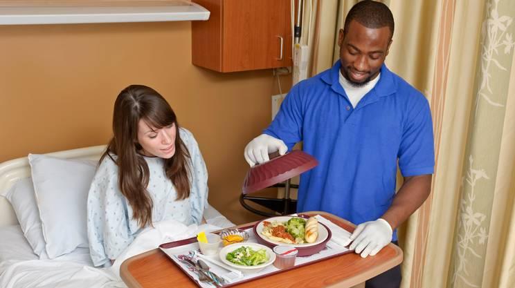 Ospedale, Cibo, Pasto, Paziente, Vassoio, Letto, Servire, Reparto di ospedale, Camera, Cena, Donne, Personale sanitario