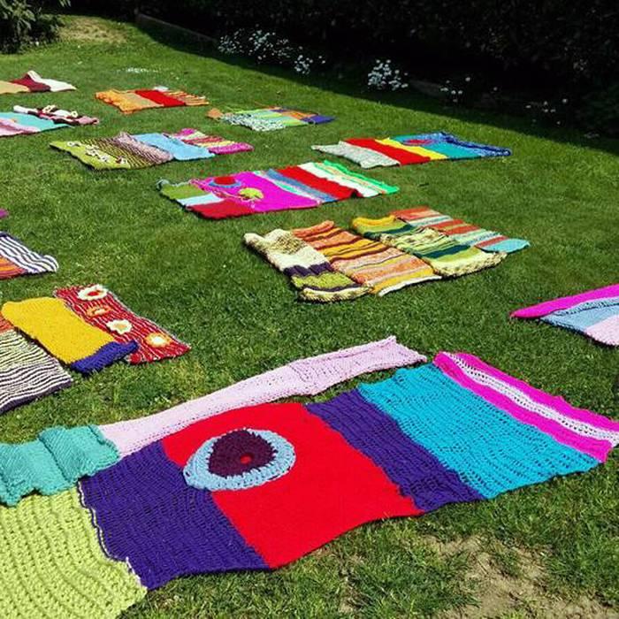 Urban Knitting, la maglia sugli alberi dell'associazione TRaGitto, Lugano, Squadra esterna 08.05.17 - 1