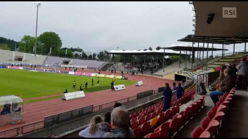 RSL, l'invasione di campo dei tifosi del Losanna visto dalle tribune (13.05.2018)