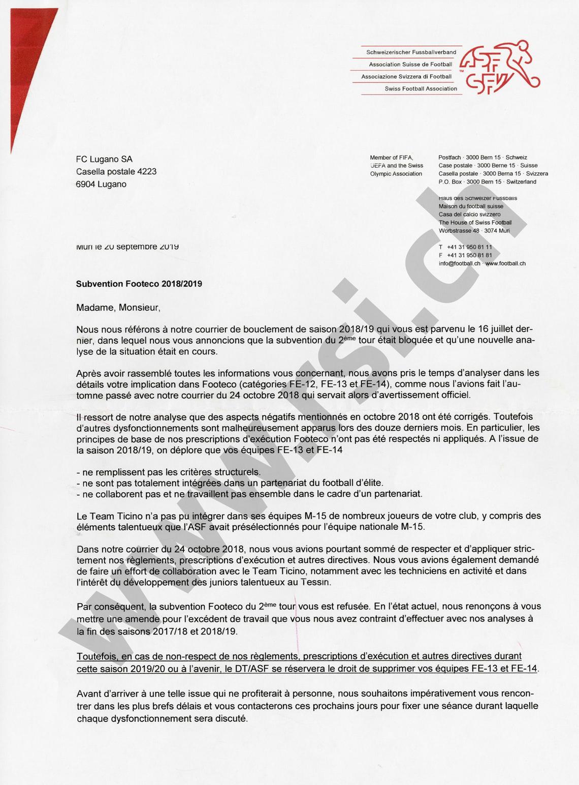 La lettera dell'ASF