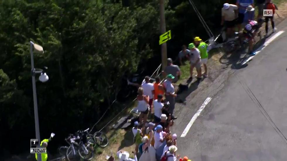 Tour de France, la brutta caduta di Geraint Thomas (20.07.2015)