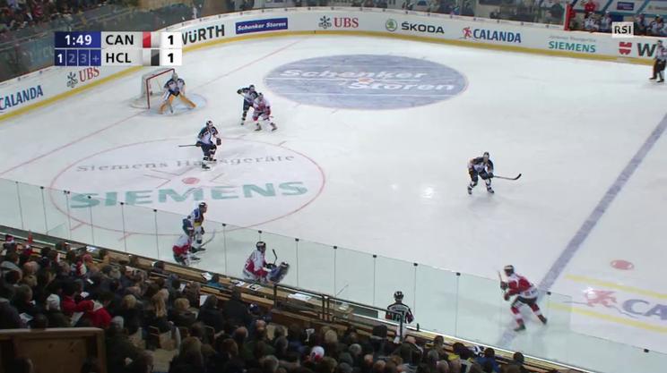 Coppa Spengler, la parata di Merzlikins nel primo tempo di Team Canada - Lugano (31.12.2015)