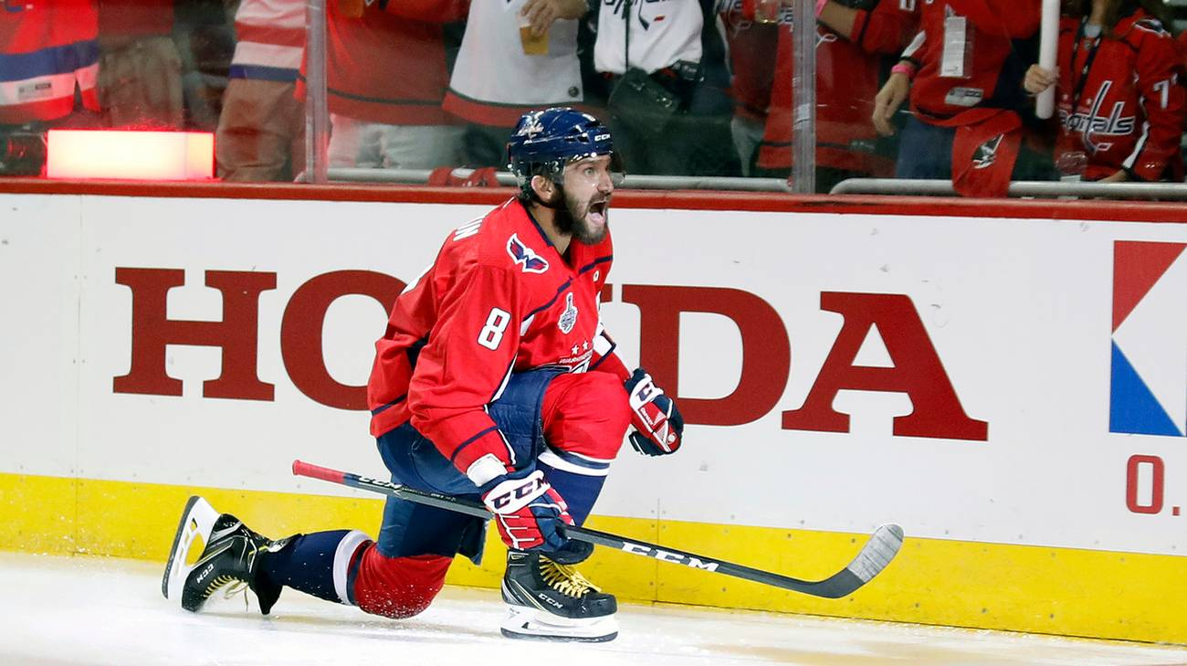 Ovechkin festeggia la 14a rete nei playoff