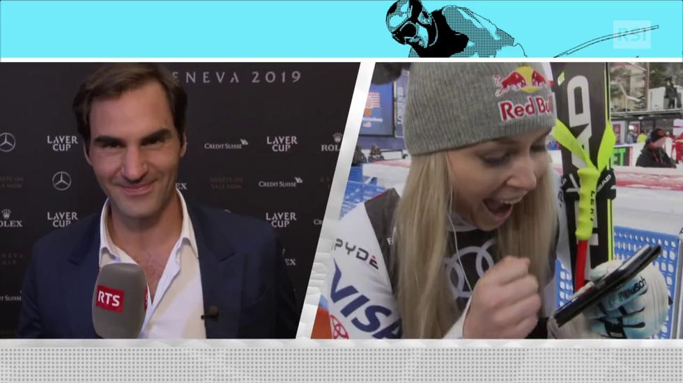 Mondiali di Are, la sorpresa di Roger Federer per Lindsey Vonn (10.02.2019)