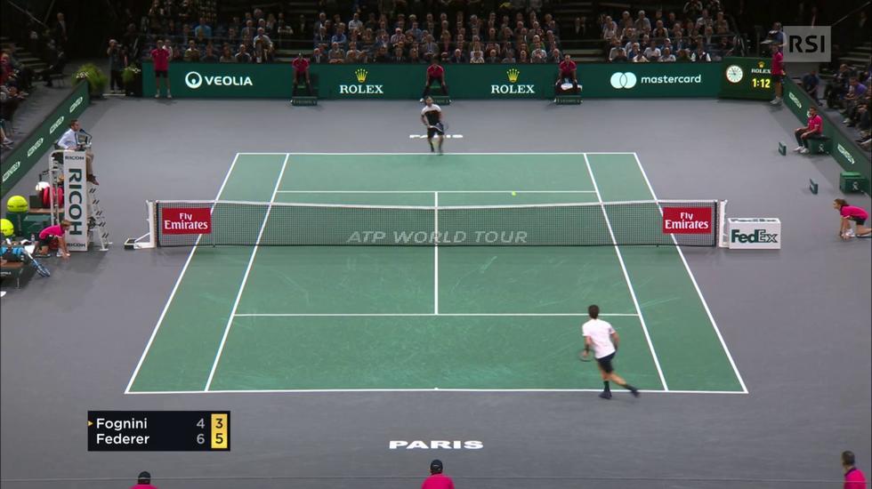 ATP Parigi-Bercy, il match point di Federer contro Fognini (01.11.2018)