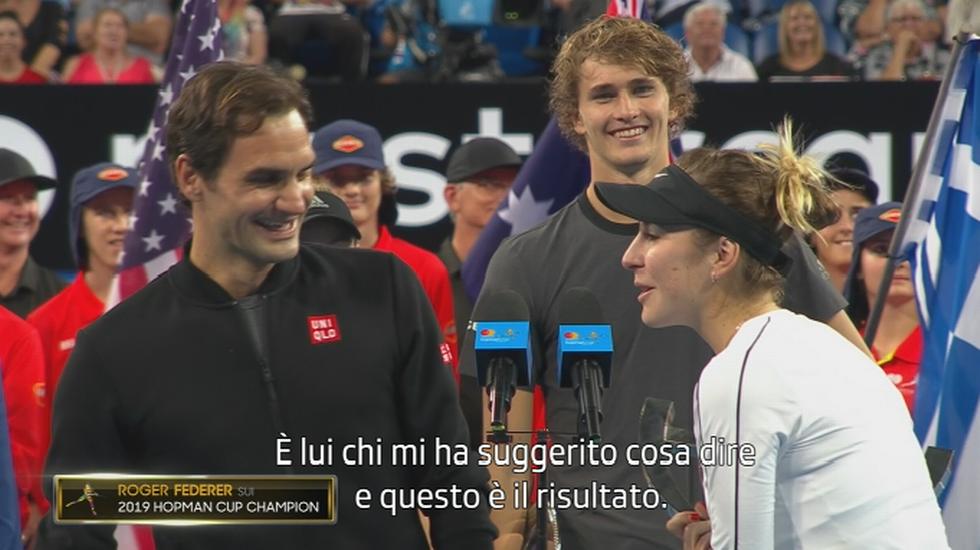 Hopman Cup, i comici ringraziamenti di Bencic e Federer (Sportsera 05.01.2019)